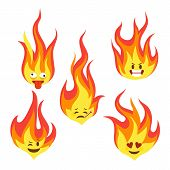 Fire Character Icons. Hot Flame Cute Emoji With Angry And Smiles Happy Characters Comic Style Vector poster