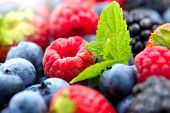 Berries. Various colorful berries background. Mint leaves, Strawberry, Raspberry, Blackberry, Bluebe poster