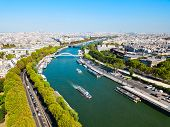 Paris City Ans Seine River Aerial Panoramic View. Paris Is The Capital And Most Populous City Of Fra poster