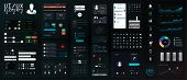 Dark Ui Elements Big Set. Modern Mobile Ui, Ux, Kit For App Development In Flat Style. Modern Interf poster