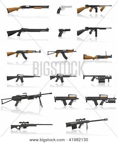 Постер, плакат: Оружие и пистолет набор сбора Иконки векторные иллюстрации, холст на подрамнике