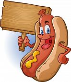 Hot Dog Holding Wooden Sign