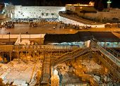 Israel, Jerusalem Western Wall At Night