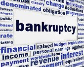 Bankruptcy word clouds creative financial message