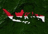 Indonesia map flag with abstract binary background illustration