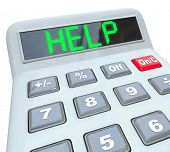 A plastic calculator displays the word Help symbolizing the need for assistance in resolving a finan