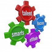 Traits of a successful person written on colorful gears - smarts, talent, focus and attitude