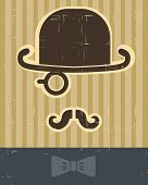 Gentlement With Mustache And Hat On Vintage Card Background.