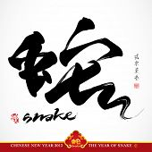 Snake Calligraphy, Chinese New Year 2013, Translation: Snake