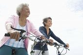 Low angle view of senior female friends riding bicycle against sky