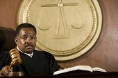 stock photo of courtroom  - African American judge holding mallet in courtroom - JPG