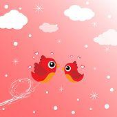 Birds in love flying around in the sky