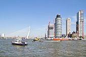 Harbor from Rotterdam in the Netherlands with the Erasmus bridge