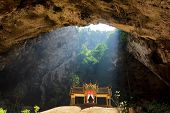 Buddhist temple in mountain cave, Sam Roi Yot, Thailand