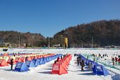 Pyeongchang, South Korea, January 4, 2013 - Ice Fishing
