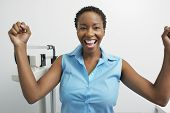 Portrait of African American woman excited for weight loss
