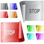 Stop. Metal surface. Raster illustration. Vector version is in my portfolio.