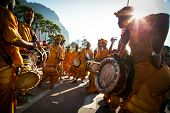 KUALA LUMPUR - JANUARY 27: Urumi melam drums brigade accompany the Hindu devotees in their procession to the Batu Caves temple on January 27, 2013 at the Thaipusam festival in Kuala Lumpur, Malaysia.