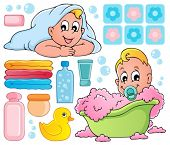 Baby bath theme collection 1 - vector illustration.