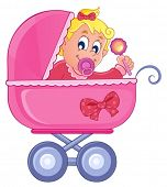 Baby carriage theme image 4 - vector illustration.