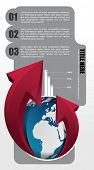 Vector business background for brochure or web with globe and red arrows