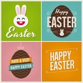 Happy easter cards illustration with easter eggs and bunny