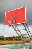 old outdoor basketball hoop against sky