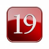 Nineteen Icon Red Glossy, Isolated On White Background