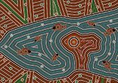 A illustration based on aboriginal style of dot painting depicting magic place
