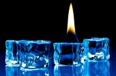 Flame Burning On Blue Ice Cubes