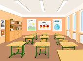 Vector Illustration Of An Empty Classroom