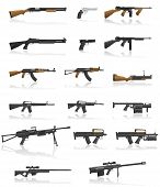 stock photo of rifle  - weapon and gun set collection icons vector illustration isolated on white background - JPG
