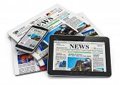 stock photo of newspaper  - Electronic internet web and paper media concept - JPG
