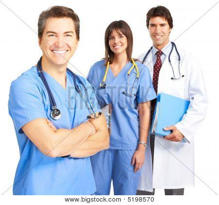 Smiling Medical Doctors With Stethoscopes. Isolated Over White Background Фотография, картинки, изображения и сток-фотография бе