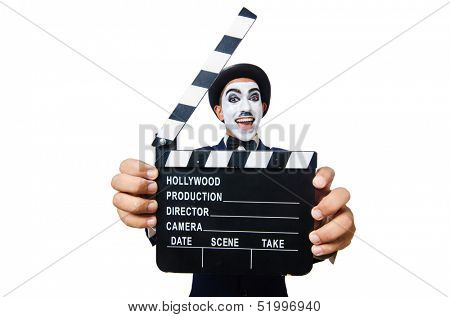 Man with movie clapper isolated