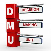 stock photo of gatekeeper  - 3d illustration of modern roadsign cubes signpost of dmu decision making unit button - JPG