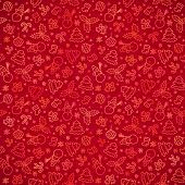 Red Christmas paper vector seamless pattern