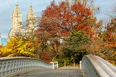Bow Bridge And Fall Colors In Central Park, Manhattan, New York City