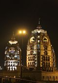 stock photo of radha  - ISCKON Temple at night New Delhi India - JPG