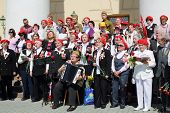 MOSCOW - MAY 9: Sad veterans sing near Bolshoi theater, on May 9, 2013 in Moscow, Russia.  Every yea
