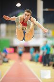 LINZ, AUSTRIA - JANUARY 31 Vadimir Golovin (#519 Russia) places 6th in the men's long jump event on