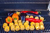 Vegetarian Barbecue And Cobs Of Corn On The Grill Outdoors