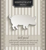 vector Menu for restaurant lace natural paper 3D pig