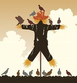 Illustrated silhouette of a flock of pigeons around a scarecrow