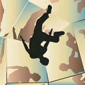 Illustration of a young man somersaulting with mirror reflections