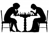 Illustrated silhouettes of two men playing chess