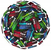 Many credit cards in a sphere or round background to illustrate borrowing money to purchase merchand
