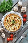 Quiche Pie With Chicken And Mushroom