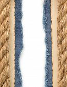 ship ropes on jeans background texture