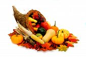 stock photo of gourds  - Harvest or Thanksgiving cornucopia filled with vegetables on a white background - JPG